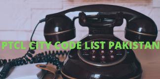 ptcl city code list